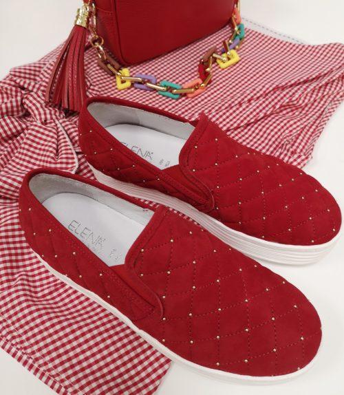 Sneakers slip on trapuntate rosse