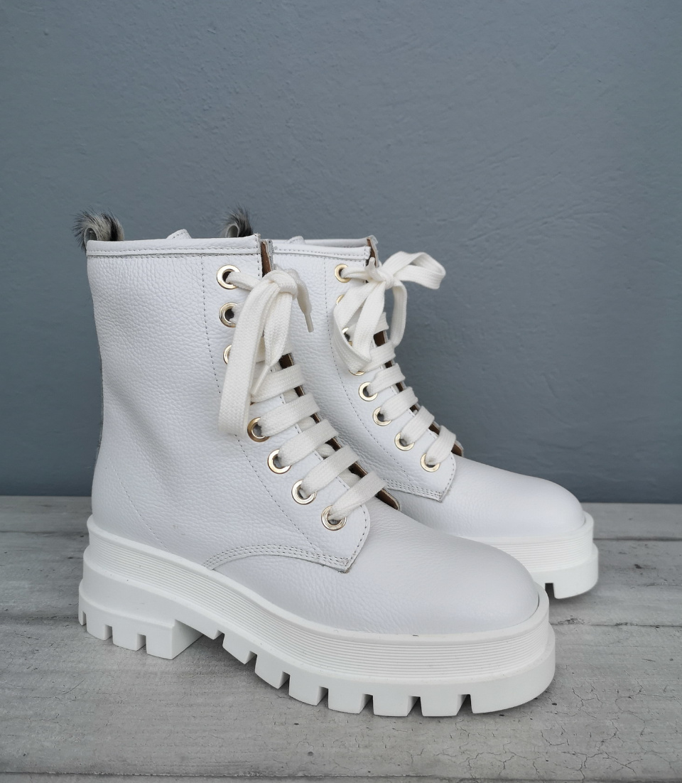Stivale bianco pelle donna Made in Italy